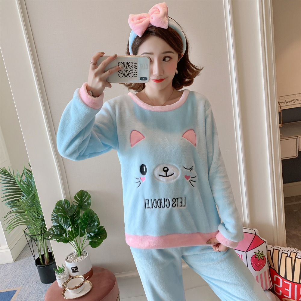 Betyline 2019 New Winter Pajamas For Women Sleepwear Warm Flannel Long Sleeves Pajamas Cute Animal Homewear Thick Homewear 176
