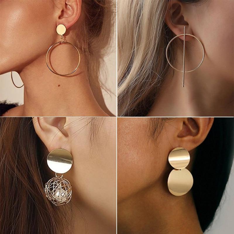 New Fashion Round Dangle Korean Drop Earrings For Women Geometric Round Heart Gold Earring 2019 Trend Wedding Jewelry