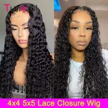 Pelucas de encaje brasileño con cierre de onda de encaje profundo pelucas de cabello humano 150% 4x4 con cierre de onda de encaje profundo para mujeres negras pelucas de cabello humano ondulado Remy