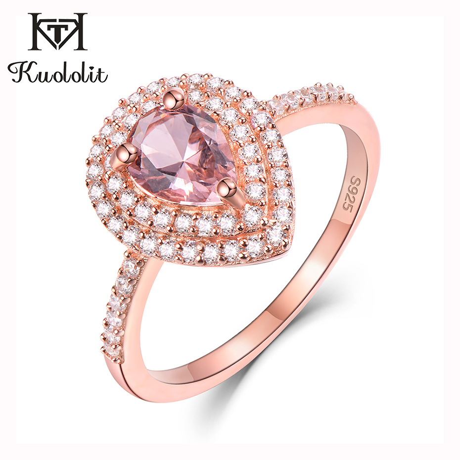 Kuololit Morganite Gemstone Rings For Women 925 Sterling Silver Pear Cut Created Pink Stone Ring Wedding Bride Gift Fine Jewelry