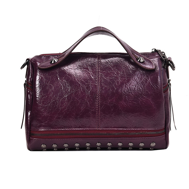 Rivet Designer Vintage Leather Crossbody Bags For Women 2019 Small Shoulder Messenger Bag Female Travel Handbags and Purses