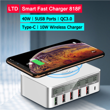 40w Fast Charger 818F Qi For Android IOS Smartphone Fast Charging 5 USB Ports Type C QC 3.0 Support 10W Wireless Fast Charging