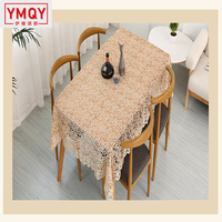 YMQY Proud Light Coffee Embroidered Table Cloth European Lace Tea Table Cloth Home Decor Rectangular Tablecloths Table Cover