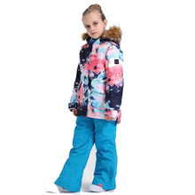 Gsou/лыжный костюм для девочек; детский лыжный костюм; 110-160 см; куртка и брюки; водонепроницаемый теплый ветрозащитный