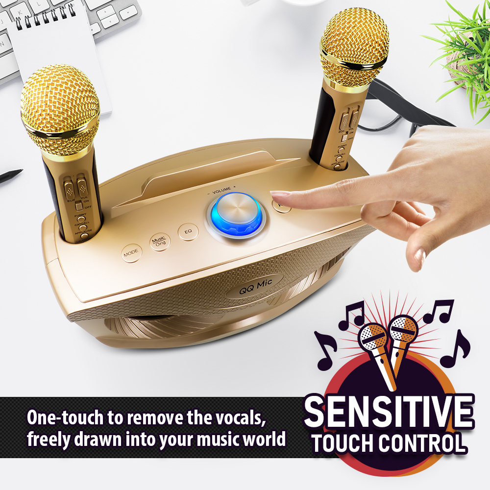 Family Dual Channel Handheld Microphone Singing Machine Multi-Functional Home Wireless Microphone Support System AUX AUX Input TF Card and U Disk Rose Gold