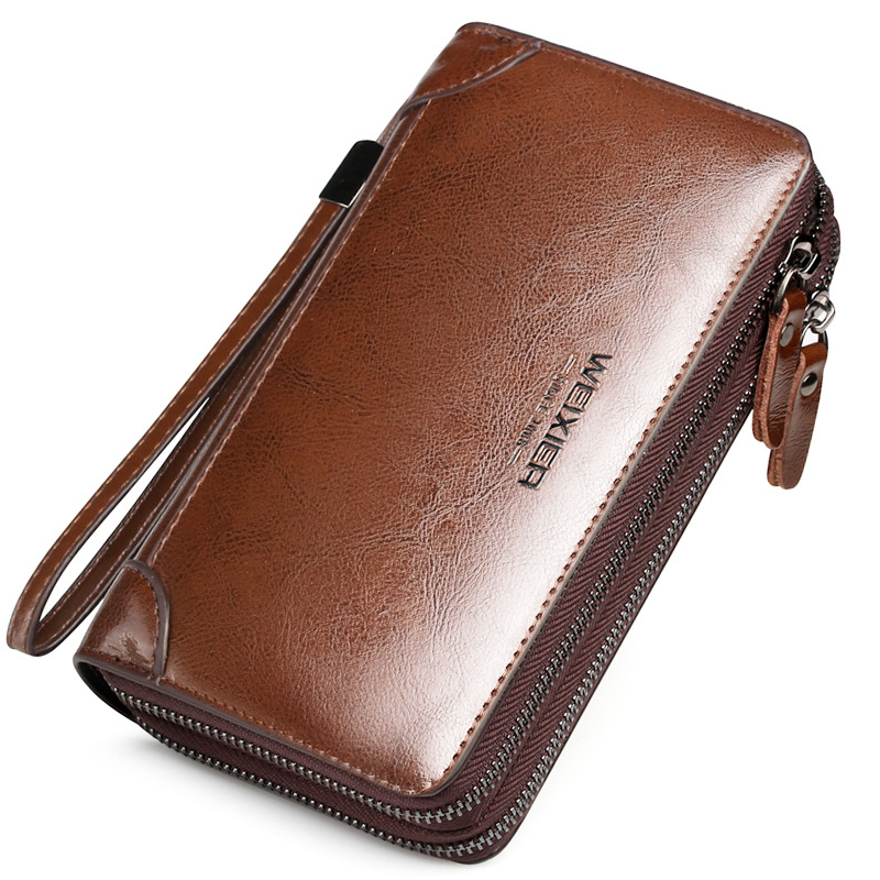 Brief Fashion Men Wallets PU Leather Long Business Clutch Bag Multi-card Position Card Holder Large Capacity Zipper Coin Purse