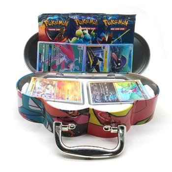 102pcs/set Pokemon Portable Tin Box TAKARA TOMY Battle Toys Hobbies Hobby Collectibles Game Collection Anime Cards For Children