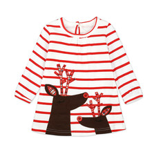 Get more info on the Christmas Clothes Girl Clothes Long Sleeve Girls Dress Toddler Baby Kids Girls Deer Printed Striped Party Princess Dress  9.7
