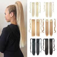 Azqueen-Extensión de cabello sintético con Clip para cola de caballo, cabello postizo largo y recto, resistente al calor