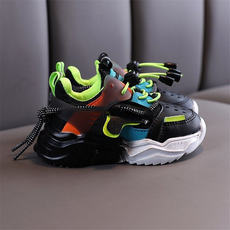 2020 New Children Shoes Girls Boys Casual Shoes Fashion Colorblock Breathable Soft Leather Non-Slip Sneakers For Kids
