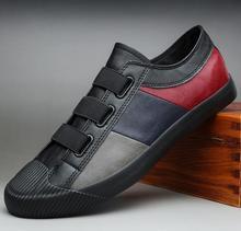 2020 męskie skórzane obuwie męskie wiosna jesień hot moda slip on fajne mokasyny wypoczynek patckwork płaskie buty