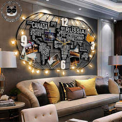 Nordic Large Wall Clock Modern Design Creative World Map Clock for Living Room 3D Quartz Home Decor