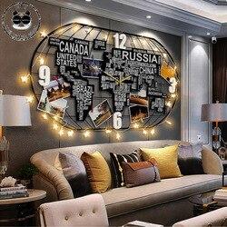 Reloj de pared grande nórdico diseño moderno mapa del mundo creativo reloj para sala de estar cuarzo 3D decoración del hogar