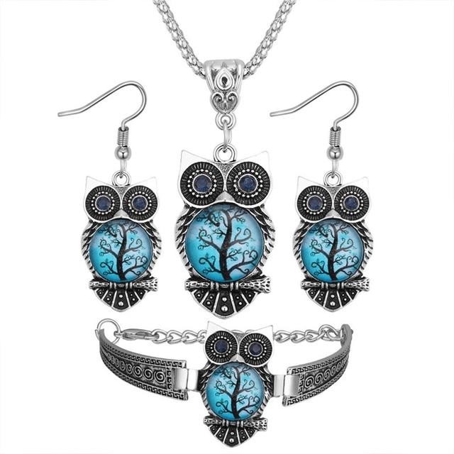 Boho Female Crystal Jewelry Set Charm Silver Color Dangle Earring For Women Vintage Owl Bracelet Wedding Chain Necklace 1