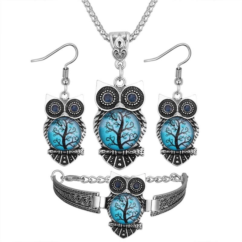 Boho Female Crystal Jewelry Set Charm Silver Color Dangle Earring For Women Vintage Owl Bracelet Wedding Chain Necklace