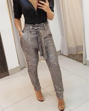 Sequins Belted Slinky Pencil Pant