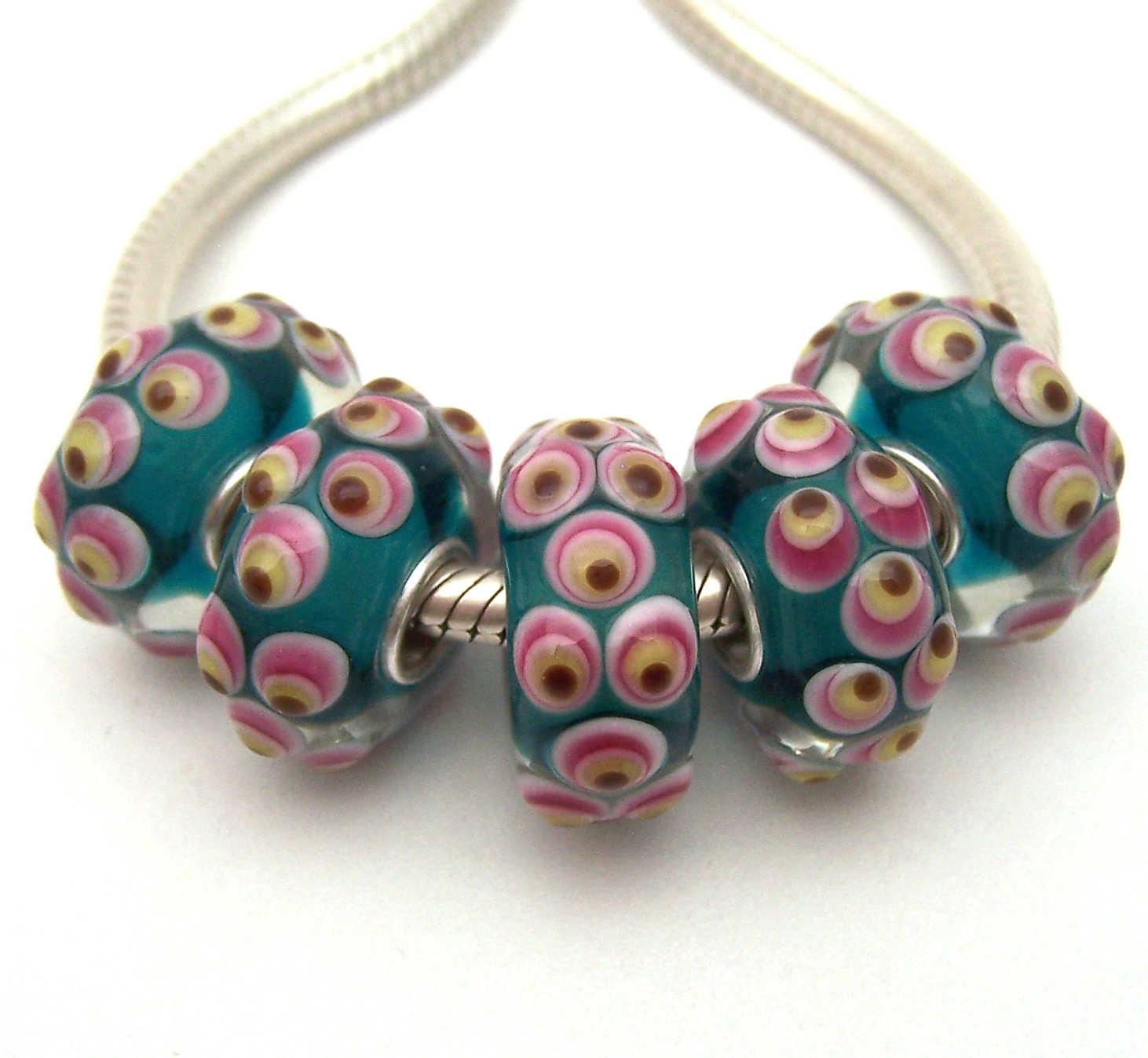 JGWGT 1102 5X100% di Autenticità S925 Sterling Silver Perle di Murano perle di Vetro Europeo Adatto Pendenti e Ciondoli Braccialetto gioielli fai da te lampwork