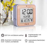 Despertador Digital LED DCF, Radio Dual, alarma automática, retroiluminación electrónica, temperatura, humedad, mesa de hora, regalo de oficina