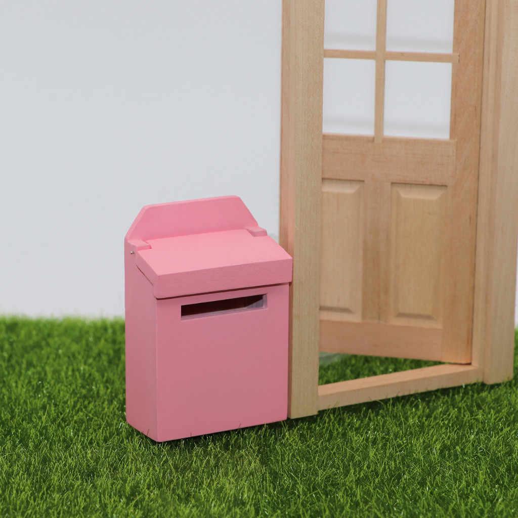 1/12 di Legno di Colore Solido Casella di Posta In Miniatura Casa Delle Bambole Giocattolo Per Bambini Fata Garden Decor Bambini Mobili giocattolo 6 Colori Dollhous