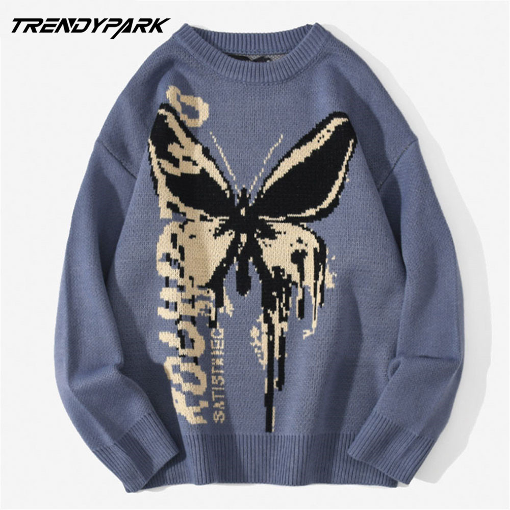 Mens Sweaters Tops Pullover Knitwear Hip-Hop Butterfly Harajuku Fashion Male Casual Loose