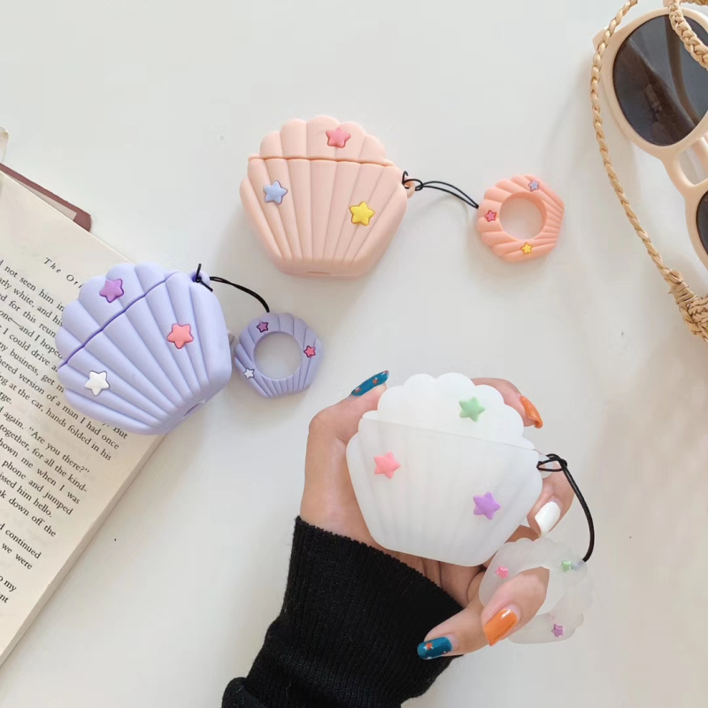 Funny Conch Shell Silicone Headphone Case Box For Apple Airpods Cover Cute Star Bluetooth Earphone Cover For Airpods Accessories