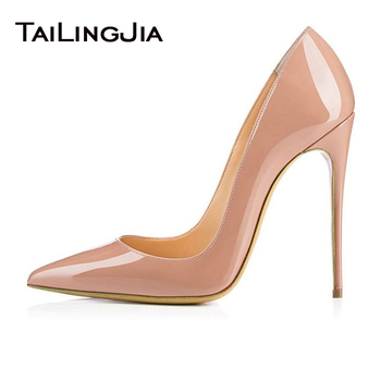 Women's Pointed Toe Heels Pumps Party Shoes Patent Leather Stiletto High Heel Ladies Plus Big Size Elegant Sexy Dress Shoe 2019