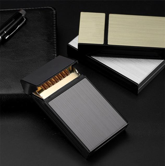 20 Sticks Cigarette Box Case Space Aluminum Slim Cigarette Holder Lighter Portable Cigarette Case Mens Gifts Smoking Accessories 4