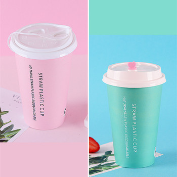 500ml Creative party birthday wedding favor paper cup disposable tea cups 400ml 500ml cold and hot drink packaging cups with lid