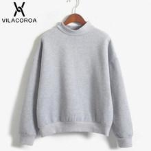 9 Colors Winter Grey Hoodie Round Neck Long Sleeve Velvet Warm Sweatshirts Women Korean Black Loose Hoodies Female Casual Coat(China)