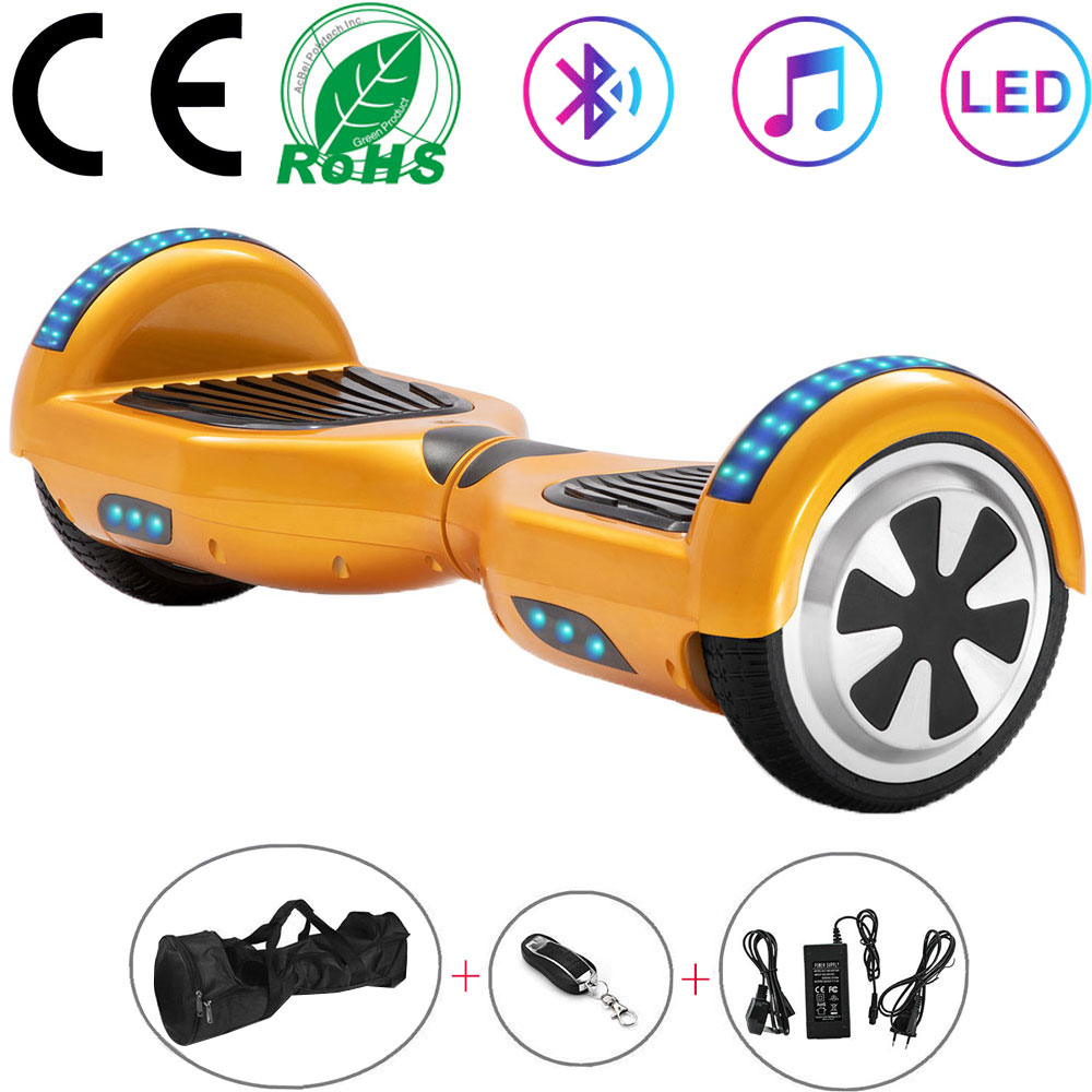 Cheap 6.5 Inch Gold Electric Scooter 2 Wheels Hoverboard LED Bluetooth Self Balance Scooter Balance Board 700W+Remote Key+Bag