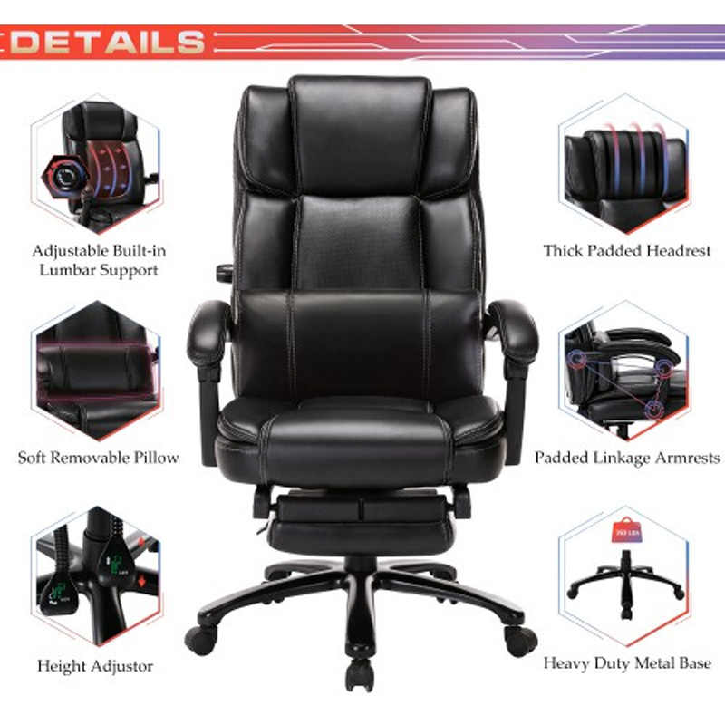 Office Chair Executive Swivel Computer Gaming Chair Recliner Leather Desk Chairs
