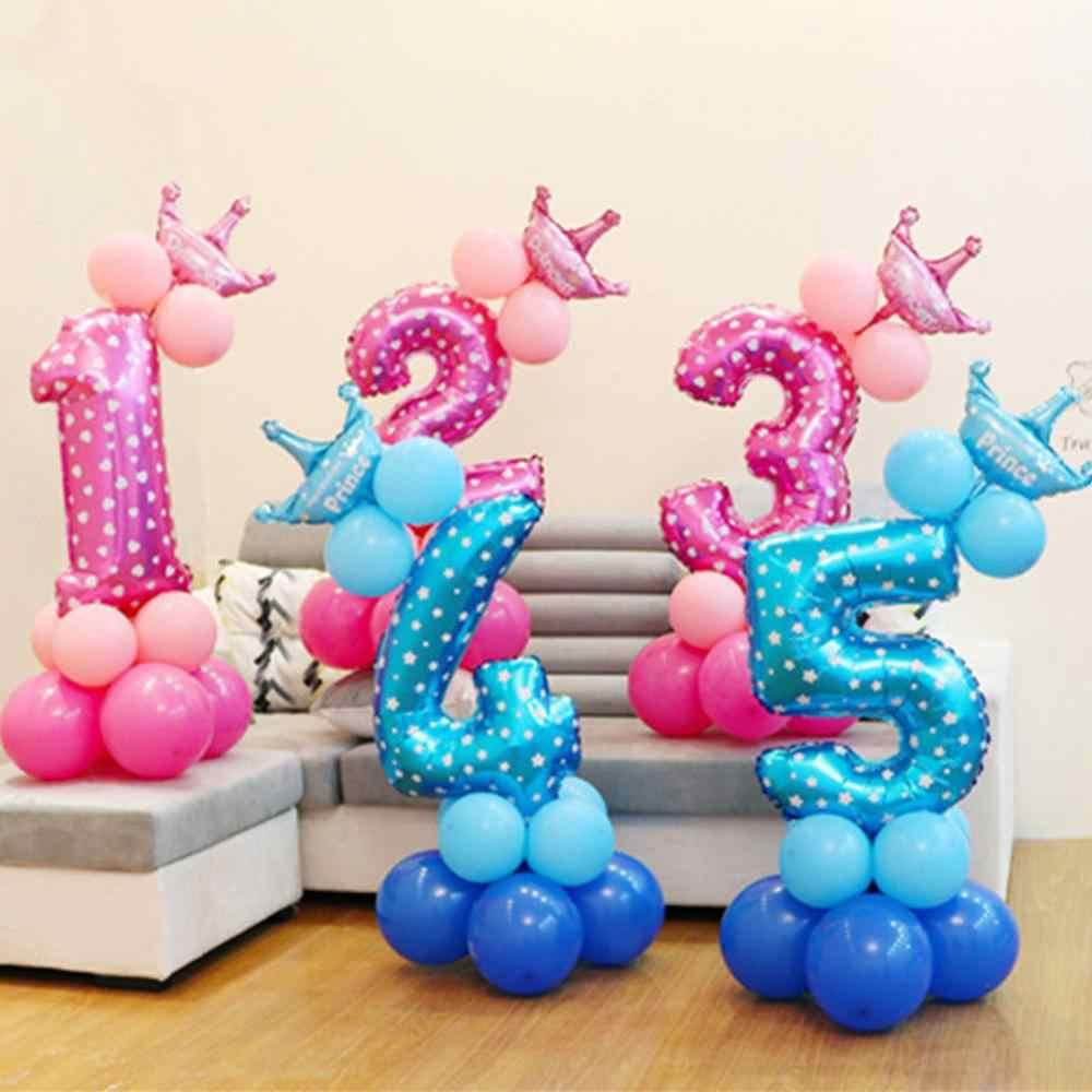 Gelukkige Verjaardag Ballon 1 2 3 4 5 6 Folie Ballonnen Air Ballonnen 1st Verjaardagsfeestje Decoraties Kids Babyshower Baby douche Jongen Meisje