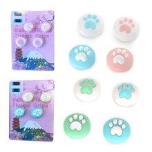 Sevimli kedi Paw pembe Sakura Pad Thumb çubuk kavrama Cap Joystick kapak nintendo anahtarı Lite NS Joy Con denetleyici Thumbstick kılıf