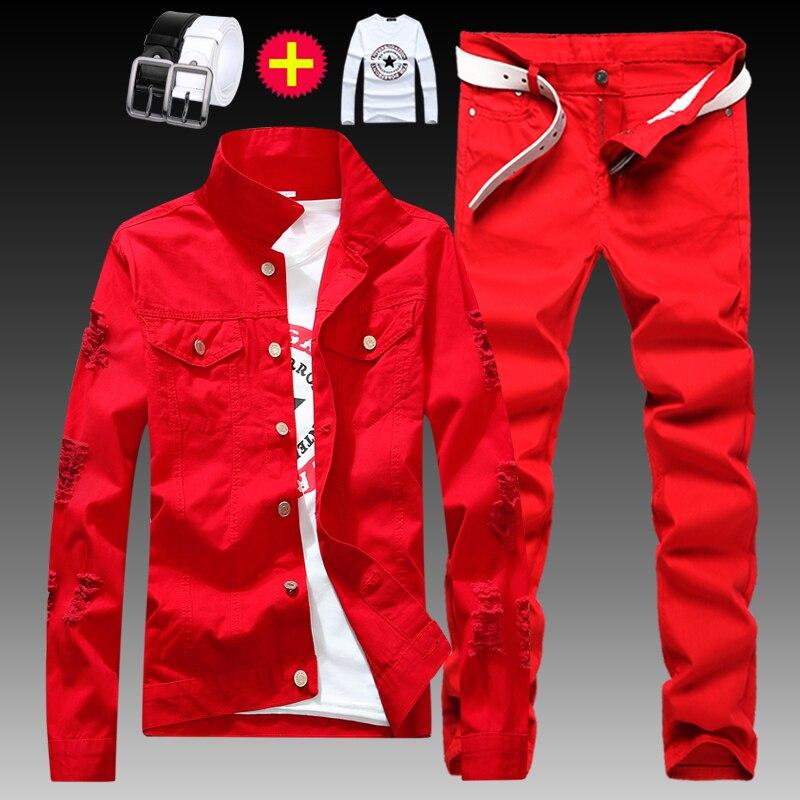 New Mens Boys Denim Jacket Trousers 2pcs Set Holes Denim Coat Jeans Pants Casual Handsome Male Clothing Autumn Wear Size S-XXL Q
