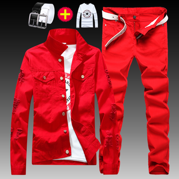 New Mens Boys Denim Jacket Trousers 2pcs Set Holes Denim Coat Jeans Pants Casual Handsome Male Clothing Autumn Wear Size S-XXL Q