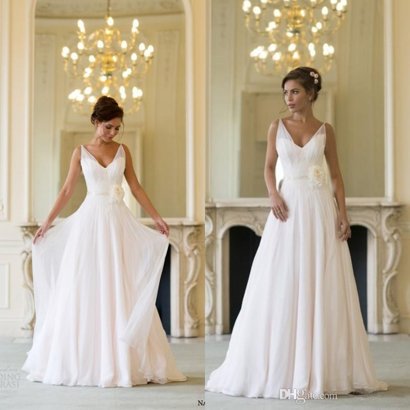Custom Made Naomi Neoh 2015 Champagne V Neck Sweep Train Flower Sash Chiffon Summer Beach Wedding Dresses Bridal Gowns
