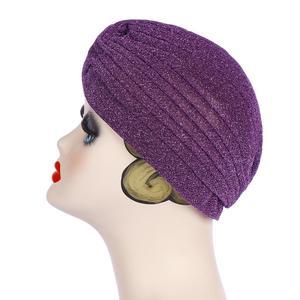 Image 5 - Glitter muzułmanki Turban czepek dla osób po chemioterapii indie chustka na głowę maska utrata włosów kapelusz hidżab plisowana, elastyczna okładka na głowę islamska moda