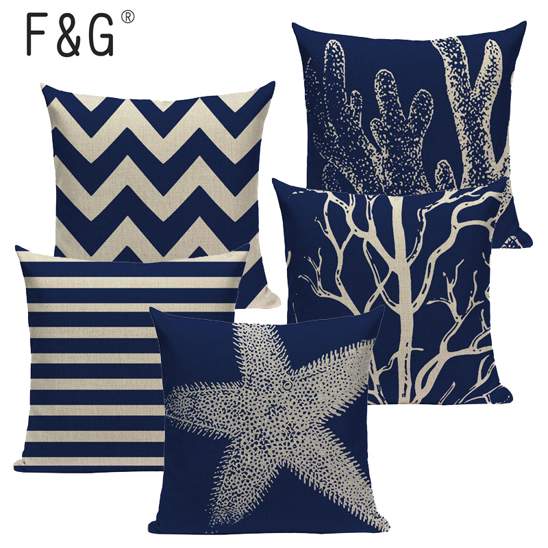 Customized marine decoration Linen Blue Coral And Starfish Cushion Cover 45x45Cm Square Home Decor 1 Side Printing Pillow Cover