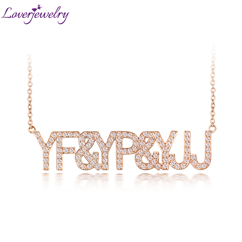 LOVERJEWELRY DIY Letters Pendant Necklace Real 18k Rose Gold Women Customize Diamonds Pendant For Anniversary Birthday Gift