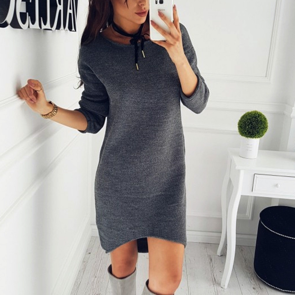 Women Knitted Tops Sweaters White Round Neck Long Sleeves Solid Pullover Tunic Loose Wool Knitwear Sweaters Tee Shirts