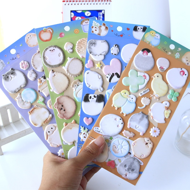 1set/1lot Kawaii Stationery Stickers Fat Doodle Cartoon Animal Diary Decorative Mobile Stickers Scrapbooking DIY Craft Stickers