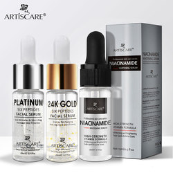 ARTISCARE Nicotinamide + Platinum + 24k Gold Six Peptides Essence 3pcs/lot Anti Wrinkles & Whitening Serum for Face Care Cream