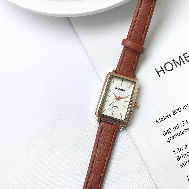 Elegant Simple Rectangle Ladies Watch Brown Quartz Clock 2019 Women's Fashion Casual Retro Leather Watches Female Wristwatches