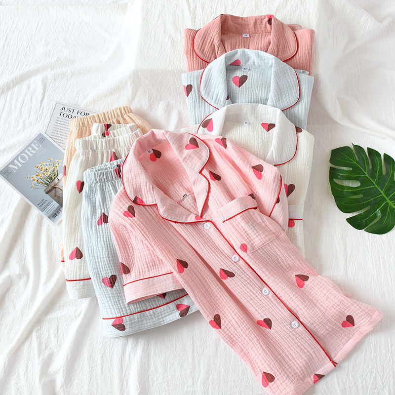 Summer Short Sleeve Shorts Pajamas Women Washed Cotton Crepe Pyjamas Turn-down Collar Printing Sleepwear Home Clothes 2 Piece