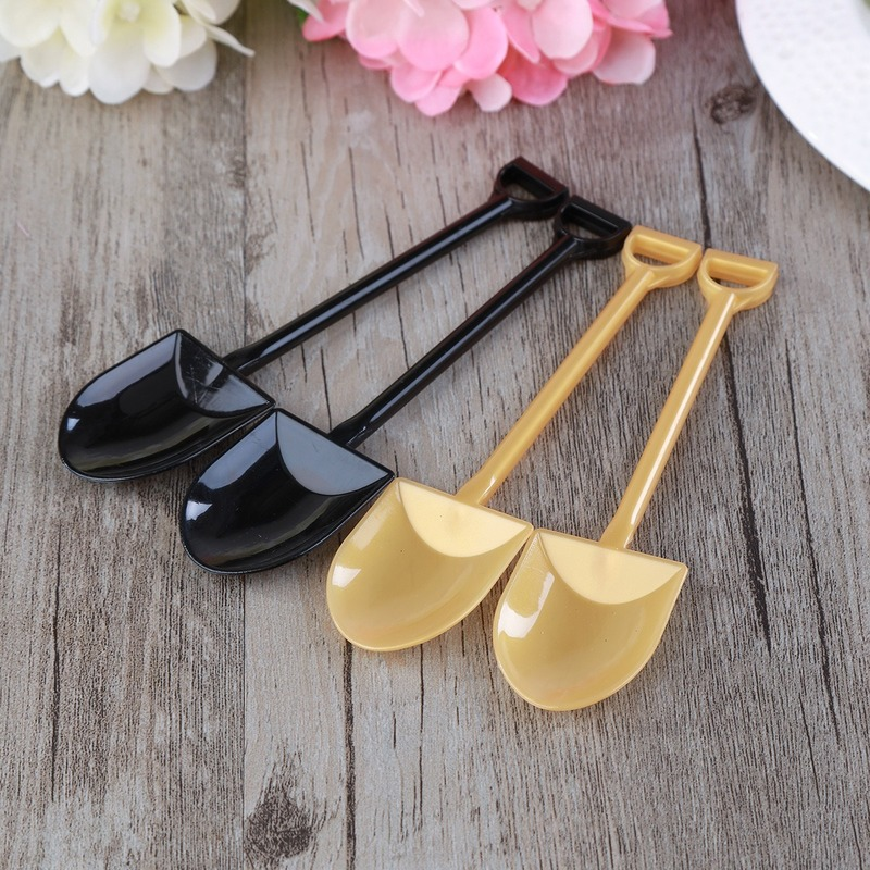 10pcs Mini Plastic Cake Ice Cream Pudding Scoop Construction Shovel Spoons Disposable Potted For Kids Party Supplies 12.2X3cm