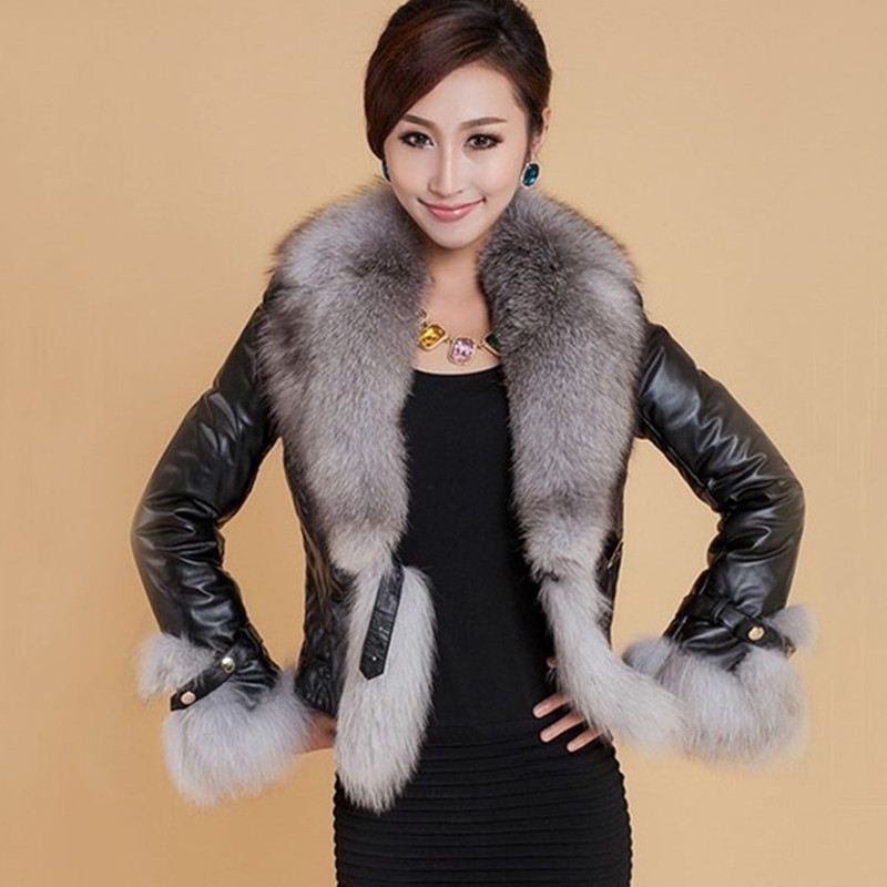 Autumn Winter Women Faux   Leather   Jacket Turn-Down Collar Fur Collar Luxury Faux Fur Jackets Short Black Slim   Leather   Jacket 3XL