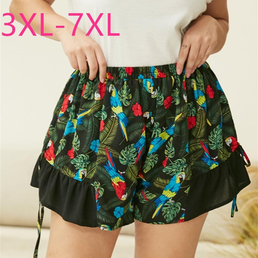 New 2020 Summer Plus Size Shorts For Women Large Loose Casual Green Floral Print Elastic Waist Shorts 3XL 4XL 5XL 6XL 7XL