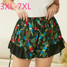 Nieuwe 2020 Zomer Plus Size Shorts Voor Vrouwen Grote Losse Casual Groene Bloemenprint Elastische Taille Shorts 3XL 4XL 5XL 6XL 7XL(China)