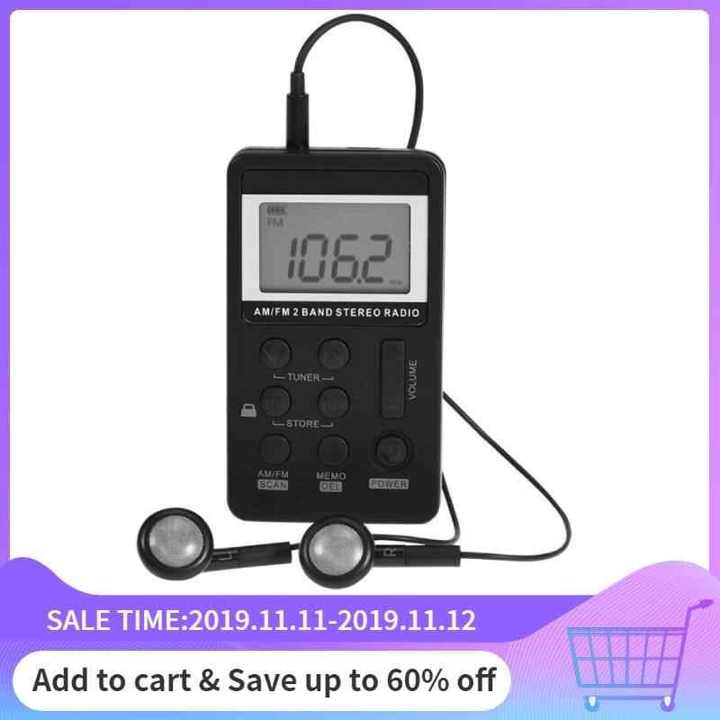 Universale Mini Radio Portatile AM/FM Dual Band Stereo Pocket Radio Ricevitore con Display LCD & Auricolari & Ricaricabile batteria