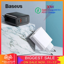 Baseus Quick Charge 4.0 3.0 USB Charger Type C QC 4.0 3.0 Charger for Samsung s10 plus 18W PD 3.0 Fast Charger for iPhone 11 Pro(China)